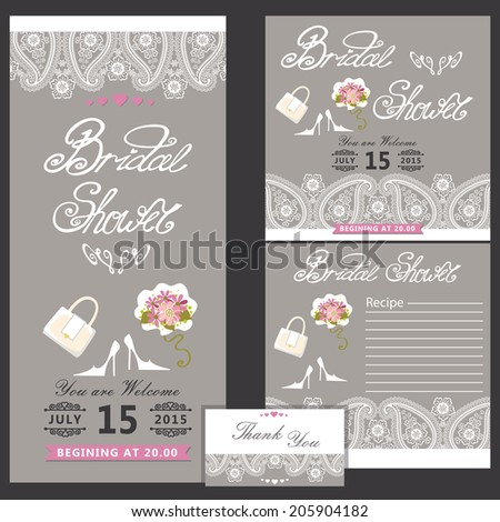 Bridal shower design templat set with wedding Paisley lace in Retro style with high heel shoes,handbags,Bridal bouquet.Set of invitation, postcard, business card,recipe card, thanksgiving.The vector. - stock vector