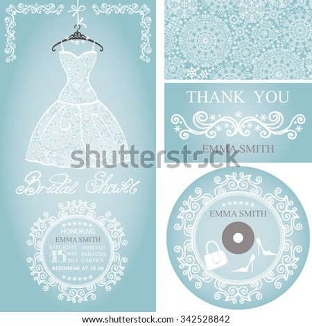 Bridal shower dress,Winter invitation card set.Openwork wedding dress,decor elements.Snowflakes lace fabric.Christmas,New Year party.Fashion vector Illustration.Falling snowflakes background. - stock vector