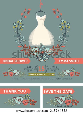 Bridal shower invitation set.Fall season.Bridal dress.autumn leaves wreath,hand writing text,ribbon.Dress on hanger hanging on ribbon.Bridal shower invitation,save the date card, thank you card.Vector - stock vector