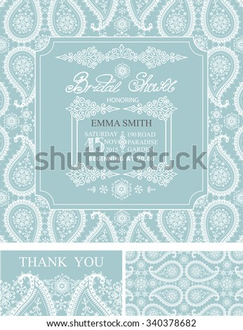 Bridal shower invitation set,wedding cards.Winter season,paisley lace pattern, border,frames,lettering title ,retro design.Christmas save the date,thank you card.Holiday Vector,illustration,ornaments - stock vector