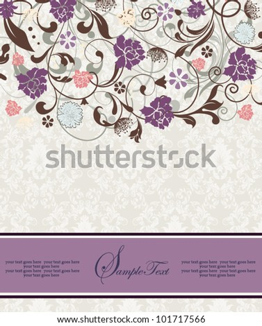 bridal shower invitation with purple flowers - stock vector