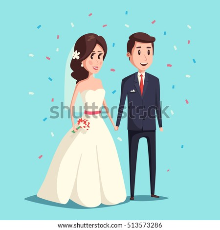 Bride and groom as love wedding couple illustration. Cartoon husband ...