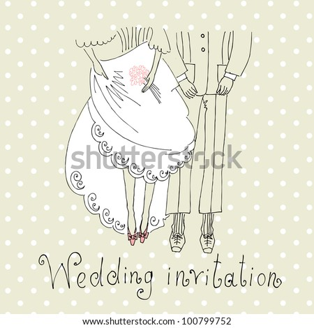 Bride and Groom. Cute Wedding Background with legs of the groom and the bride - stock vector