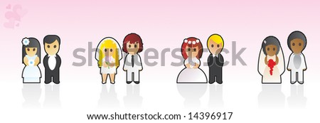 Bride and Groom - four wedding couples - stock vector