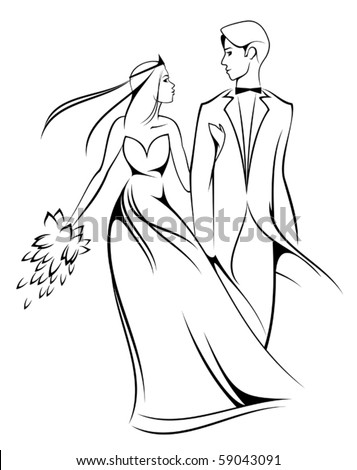 Bride and groom isolated on white for marriage ceremony design. Jpeg version also available in gallery - stock vector