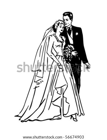 Bride And Groom - Retro Clip Art - stock vector