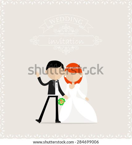 Bride and groom standing together and looking at camera. Groom is waiving. - stock vector