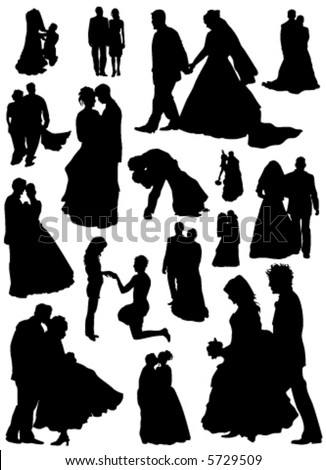 bride and groom vector (married people) - stock vector