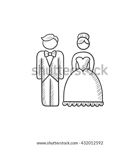 Bride and groom vector sketch icon isolated on background. Hand drawn Bride and groom icon. Bride and groom sketch icon for infographic, website or app. - stock vector