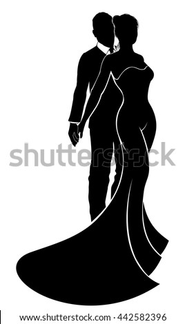 Bride and groom wedding couple in silhouette with the bride in a bridal wedding dress gown - stock vector