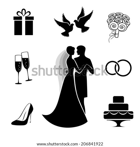 Bride and groom with some wedding icon collection isolated on white background. Vector illustration - stock vector