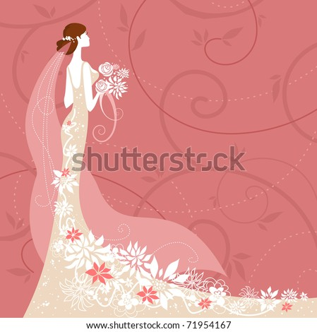 Bride on pink background - stock vector