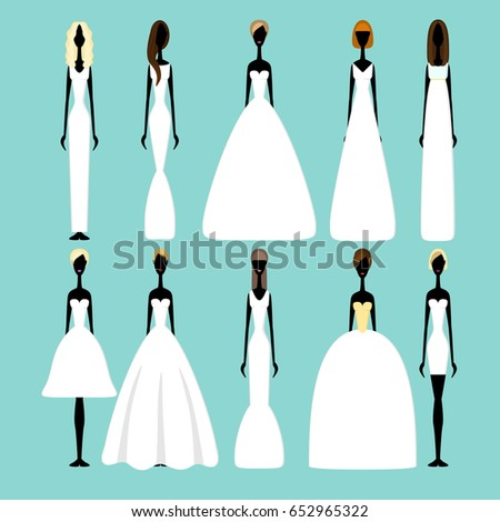 Bride Silhouettes Different Styles Wedding Dresses Stock Photo ...