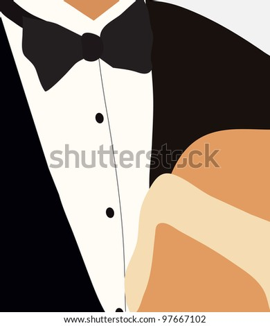 bridegroom in the tuxedo and the bride in her dress at the wedding stand side by side, turning to each other face - stock vector
