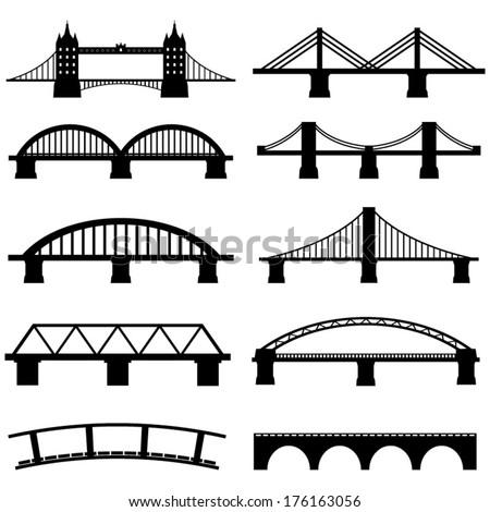 Bridge Icons Set Vector - stock vector