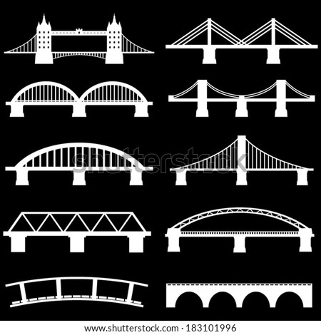 Bridge Icons Set Vector  - stock vector
