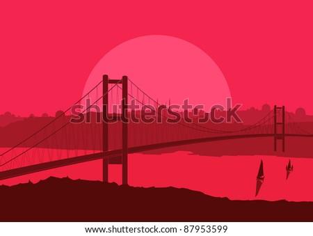 Bridge in Arabic city landscape background illustration - stock vector