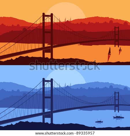 Bridge in day and night Arabic city landscape background illustration