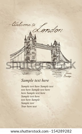 Bridge in the evening, London, England, UK, Europe. Vector doodle illustration. Hand drawing old fashion background.  - stock vector