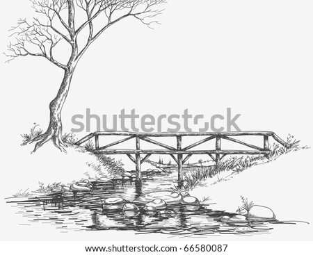 Bridge over river sketch - stock vector