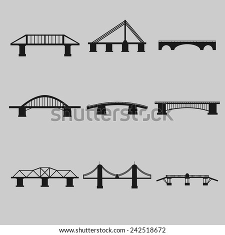 Bridges Icons Set - stock vector
