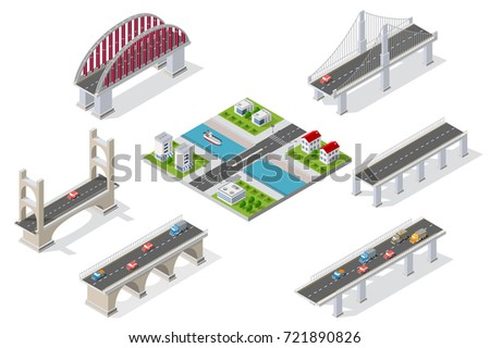 Bridges in the field of industrial construction and heavy industry. Template for presentation and design