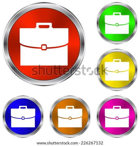 briefcase icon - vector glossy colourful buttons - stock vector