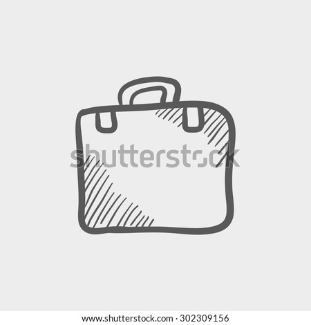 Briefcase sketch icon for web and mobile. Hand drawn vector dark grey icon on light grey background. - stock vector