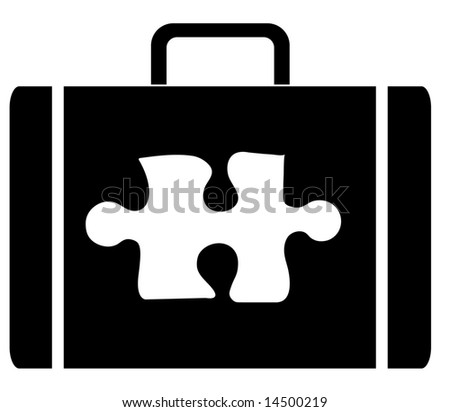 briefcase with symbol of a puzzle piece on the outside - stock vector