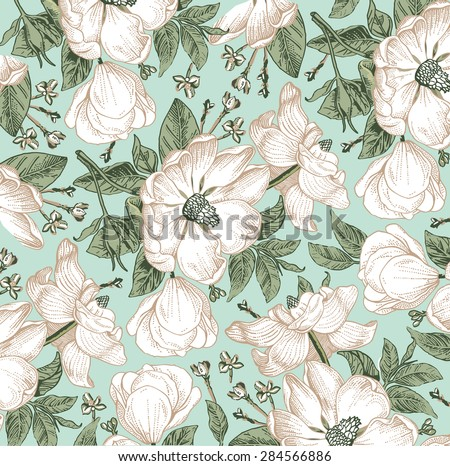 Brier, dog-rose, rose-hip. Classic pattern. Beautiful white realistic blooming flowers baroque. Vintage background. Drawing, engraving. Freehand. Wallpaper. Vector victorian style Illustration. - stock vector