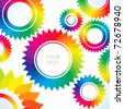 Bright abstract background of several different colors of gears - stock vector