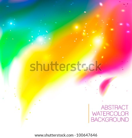 Bright abstract background with watercolor swirl and shiny particles - vector illustration for your business presentations. - stock vector
