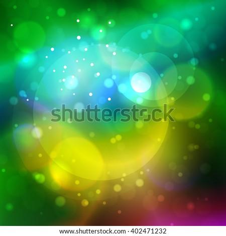 Bright Abstract Bokeh Background , Defocused Lights, Vector Illustration - stock vector