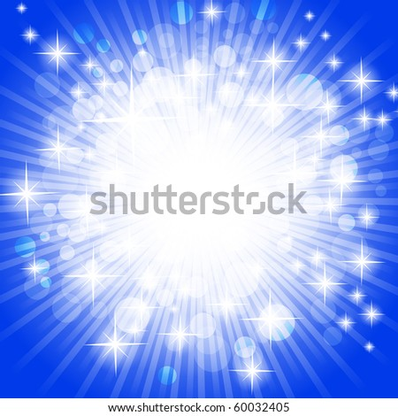 bright abstract explosion over blue, copyspace - stock vector
