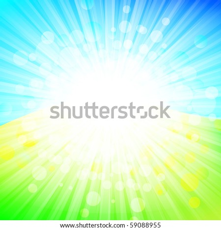 bright abstract explosion over green and blue, copyspace - stock vector