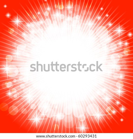 bright abstract explosion over red, copyspace - stock vector