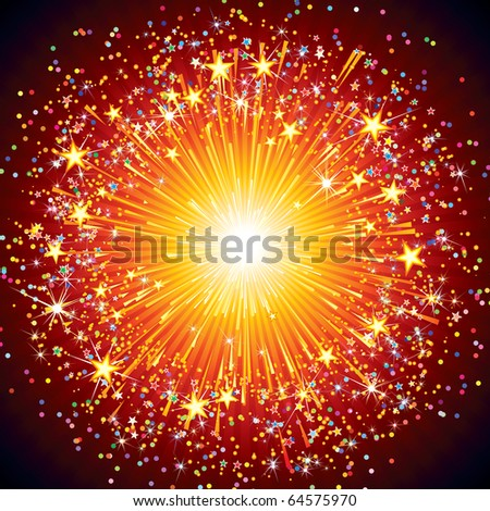 Bright Abstract festive fireworks explosion over black background - stock vector