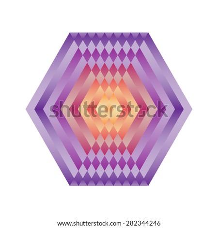 Bright abstract mosaic  hexagon. Logo rainbow mandala. Vector illustration. - stock vector