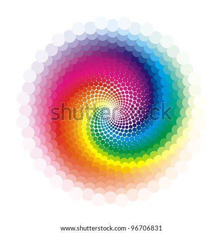 bright abstract pattern in rainbow colors on white background