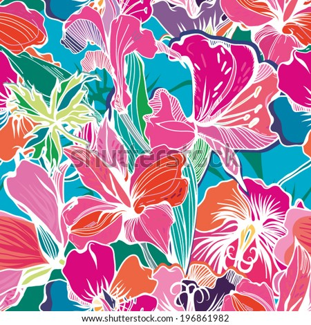 Bright Abstract wallpaper seamless vintage flower pattern. - stock vector