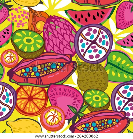 Bright and amazing Vector seamless pattern of tropical fruits in juicy colors. - stock vector