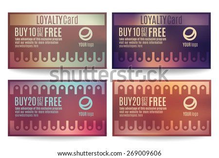 Bright and colorful Customer loyalty card or reward card templates - stock vector