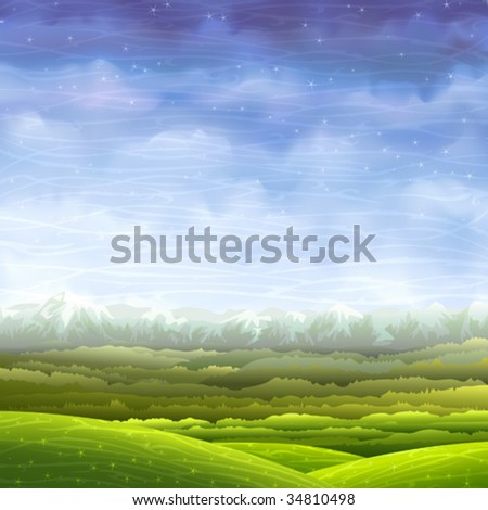 Bright and colorful rolling landscape with aerial perspective  (.JPG version id 44520367, other images from this series are in my gallery) - stock vector