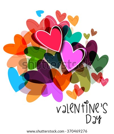 Bright and colourful Valentine`s day background - stock vector