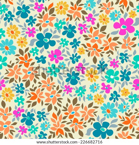 bright and ditsy seamless floral background - stock vector