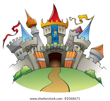 Bright and jolly castle, fortress with walls, towers, and flags, vector illustration - stock vector