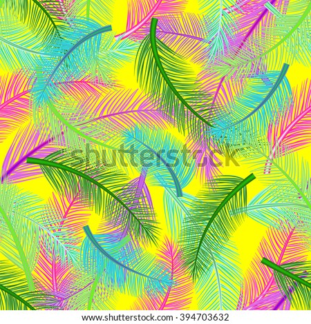 Bright and positive pattern with palm leaves of different colors. - stock vector