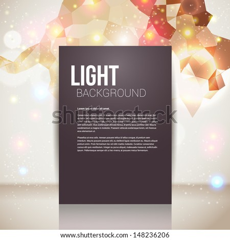 Bright and sparkling page layout with place for your text. Abstract geometric background with glitter. Vector image.  - stock vector