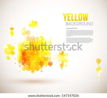 Bright and sunny page layout for your presentation. Geometric background with hexagons. Vector image. - stock vector