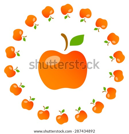 Bright art illustration of red mellow apples. Fully editable vector illustration. Perfect for textile, background, wallpaper use.   - stock vector